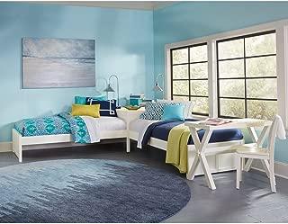 NE Kids Pulse Twin L Shape Transitional Platform Bed in White