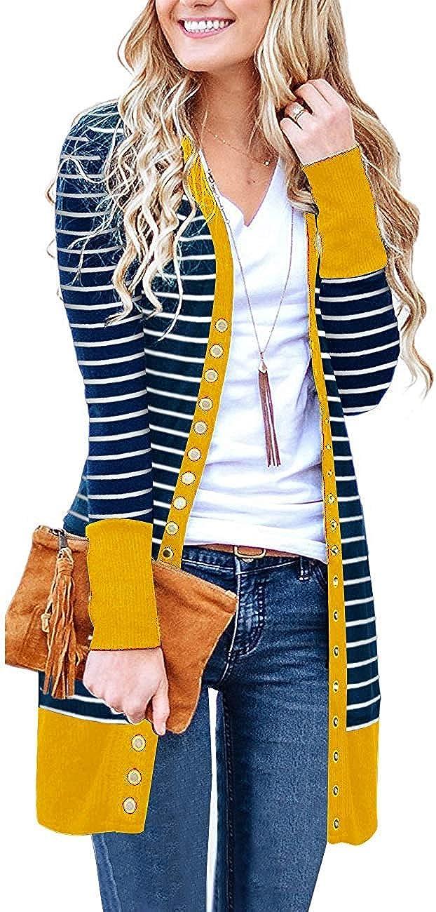 Basic Faith Women's Cardigans V-Neck Button Down Knitwear Long Sleeve Soft Knit