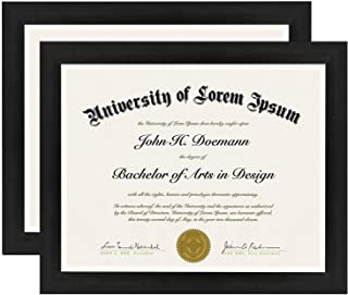 Americanflat 2 Pack Diploma Frames | Displays 8.5x11 Documents. Shatter-Resistant Glass. Hanging Hardware Included!