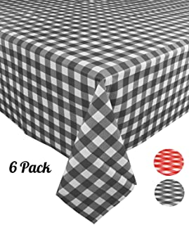 [6 Pack] Plastic Black and White Checkered Tablecloth, Disposable Gingham Party Table Covers, Rectangle 54