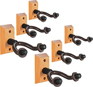 Guitar Wall Mount Hanger Real Hardwood 6 Pack Guitar Hanger Wall Hook Holder Stand Display with Screws - Easy To Install - Fits All Size Guitars, Bass, Mandolin, Banjo, Ukulele