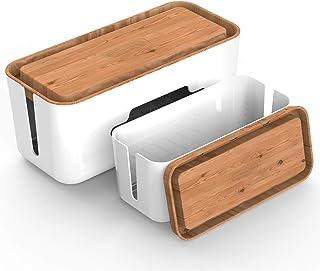 NTONPOWER ケーブルボックス 2個セット コード配線 電源タップ & コンセントを収納 大 ケーブル隠し 木目 樹脂 タップボックス テーブル 配線整理 放熱性 -木目調(M & Lサイズ)