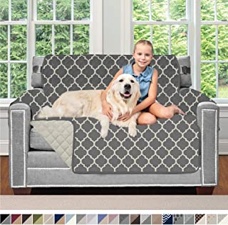 Sofa Shield Original Patent Pending Reversible Chair Protector for Seat Width to 48 Inch, Furniture Slipcover, 2 Inch Strap, Chairs Slip Cover Throw for Pets, Cats, Armchair, Quatrefoil Charcoal Linen