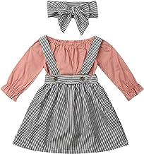 BHJTR Toddler Baby Girls Casual Long Sleeve Romper+ Stripe Strap Skirt + Headband Jumpsuit Suspender Dress