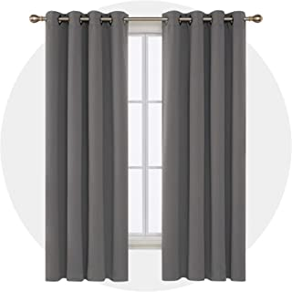 Deconovo Solid Room Darkening Curtains Thermal Insulated Blackout Curtains Grommet Blind Curtains for Bedroom 52W x 84L Inch Light Grey 2 Panels