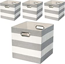 Storage Bins Storage Cubes,11×11 Collapsible Storage Boxes Containers Organizer Baskets for Nursery,Office,Closet,Shelf - 4pcs,Grey-white Striped
