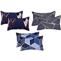 VAS COLLECTIONS 6 Pcs Cotton Pillow Cover Set ( 3 Pairs ) | 144 TC Supersoft Brushed Cotton – Breathable & Wrinkle Free – 6 Pcs Set ( White,Grey & Blue )
