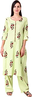 MEVE Readymade 2 Piece Matching Pure Jaipuri Handblock Cotton Green Kurta and Palazzo Set for Women