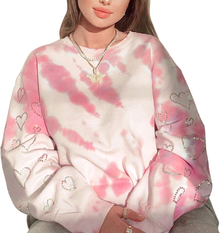 Womens Valentine 's Day Long Sleeve Sweatshirt Loose Crewneck Heart Print Pullover Y2K Streetwear Tops
