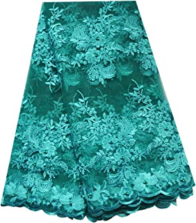 SanVera17 African Lace Net Fabrics Nigerian French Fabric Embroidered and Manual Beading Guipure Cord Lace for Party Wedding 5 Yards (Green)