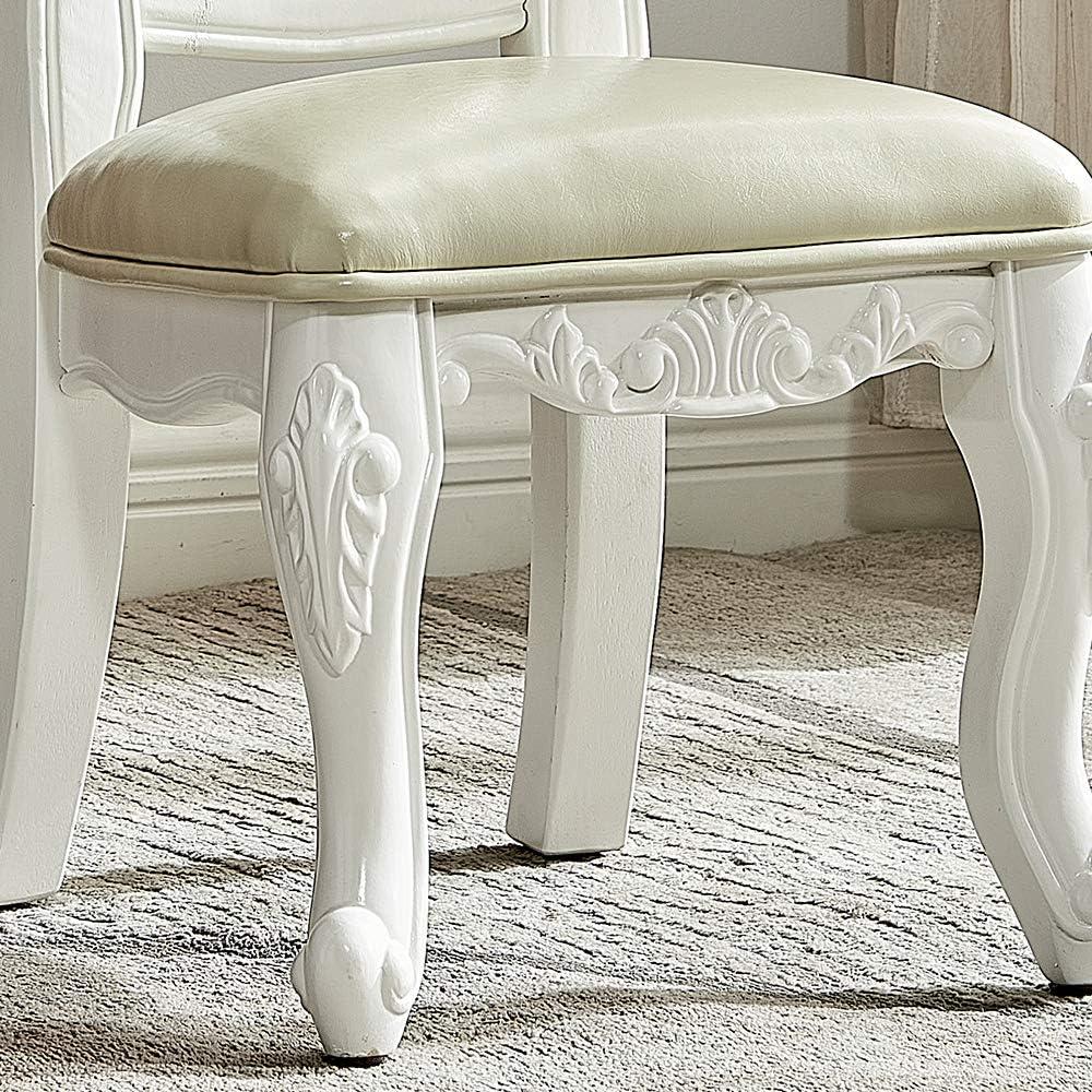 LEILISI 2 Pcs Set Kids Stools Household Solid Wood Leather Backrest Stool Shoe Stools Table Chair Stools Cherry+Blue