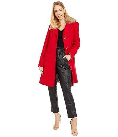 Kate Spade New York Wool Coat w/ Faux Fur Collar (True Red) Women