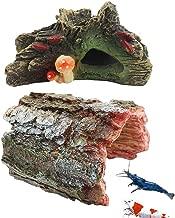 kathson Aquarium Cave Fish Hideout Resin House Decor 2pcs Betta Log Hollow Decaying Trunk Ornament