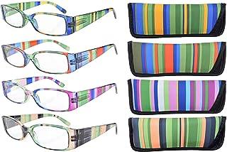 99f883e924 Eyekepper Lot de 4 lunettes de lecture/de vue a branches en rayure  multicolore,