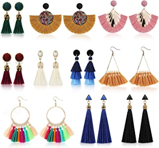 PHOGARY 10 Pairs Colorful Long Tassel Earrings Bohemian Fringe Drop Earrings, Fan Tassel Earrings for Women Girls Valentine Birthday Party Gifts