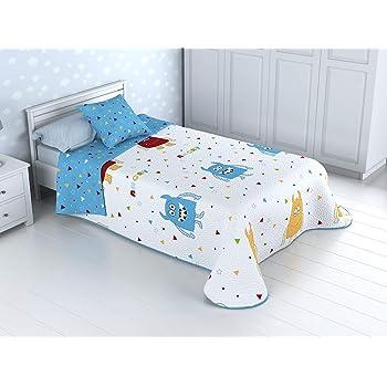 Cabetex Home - Colcha Bouti Infantil Reversible 100% con Funda de cojín y Tacto algodón Mod. Monster (Cama de 90 cm (180_x_260 cm)): Amazon.es: Hogar