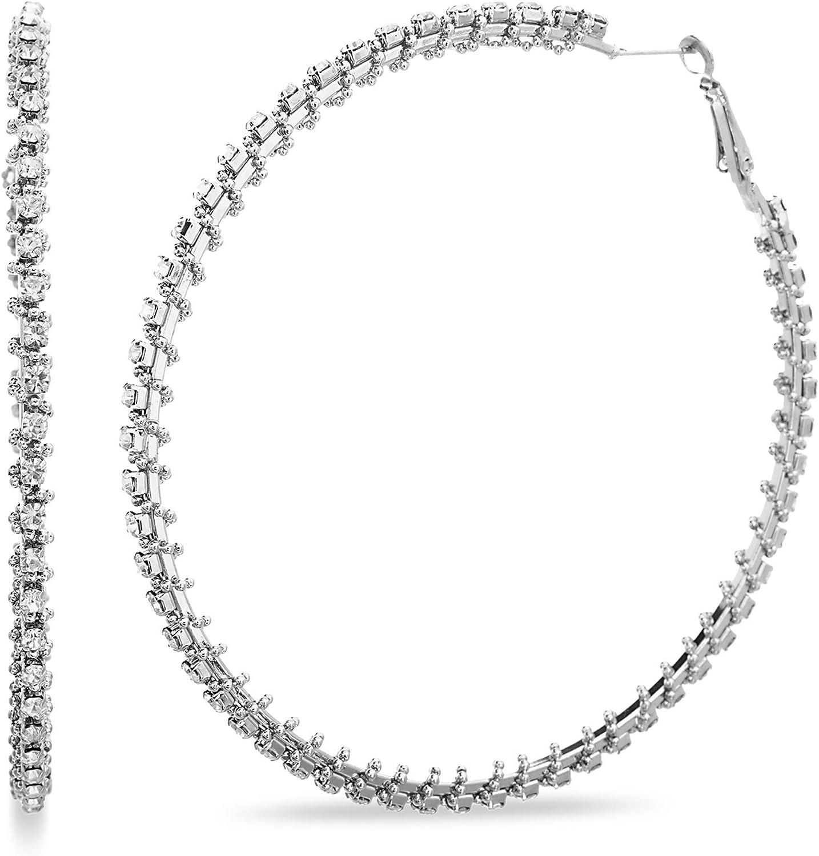 Steve Madden 80mm Extra Large Rhinestone Hoop Earrings for Women