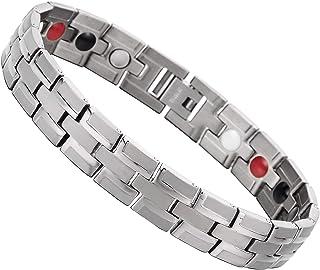 COOLSTEELANDBEYOND Mens Titanium Link Bracelet, Germanium, Free Link Removal Kit Satin and Polished