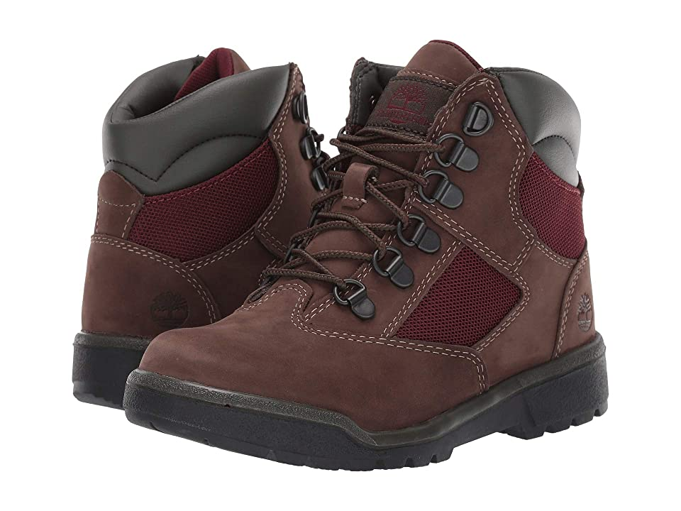 Timberland Kids 6 Field Boot (Little Kid) (Dark Brown Nubuck) Kids Shoes