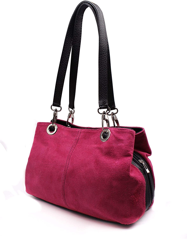 Women Real Italian Suede Vivid Colours Small 3 Compartments Tote Bag Stylish Shoulder Handbag