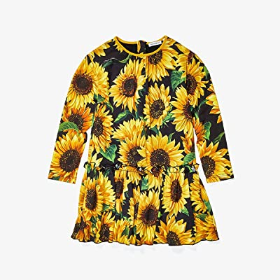 Dolce & Gabbana Kids Sunflower Print Modal Dress (Little Kids) (Nero) Girl