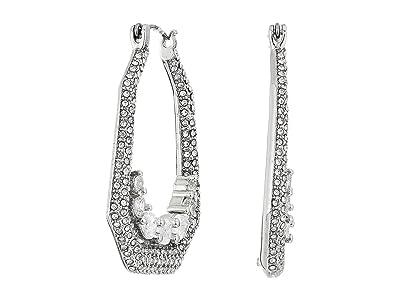 Vince Camuto Medium Hoops Earrings (Rhodium/Crystal) Earring