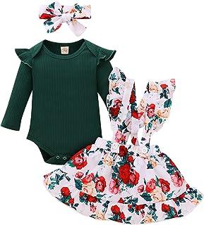 puseky Baby Mädchen Outfits Langarm Baumwolle Strampler Floral Strapsrock Stirnband Kleidung Set