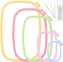 Pllieay 4 Pieces 4 Sizes Square Embroidery Hoops Plastic ABS Cross Stitch Hoops for DIY Embroidery Craft