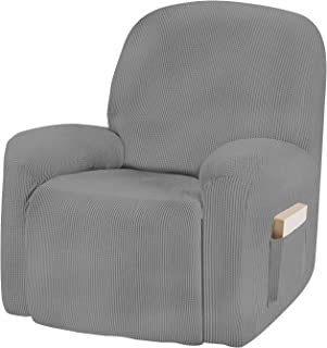 AUJOY Recliner Chair Cover Stretch 1-Piece Couch Slipcover Jacquard Spandex Fabric Sofa Furniture Protector with Anti-Slip Foams and Straps (Recliner, Light Gray)