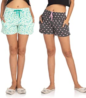 Nite Flite Women's Cotton Shorts- Pack of 2 (Floral Green & Masquerade)