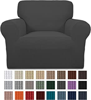 Easy-Going Stretch Chair Sofa Slipcover 1-Piece Couch Sofa Cover Furniture Protector Soft with Elastic Bottom for Kids. Spandex Jacquard Fabric Small Checks(Chair,Dark Gray)