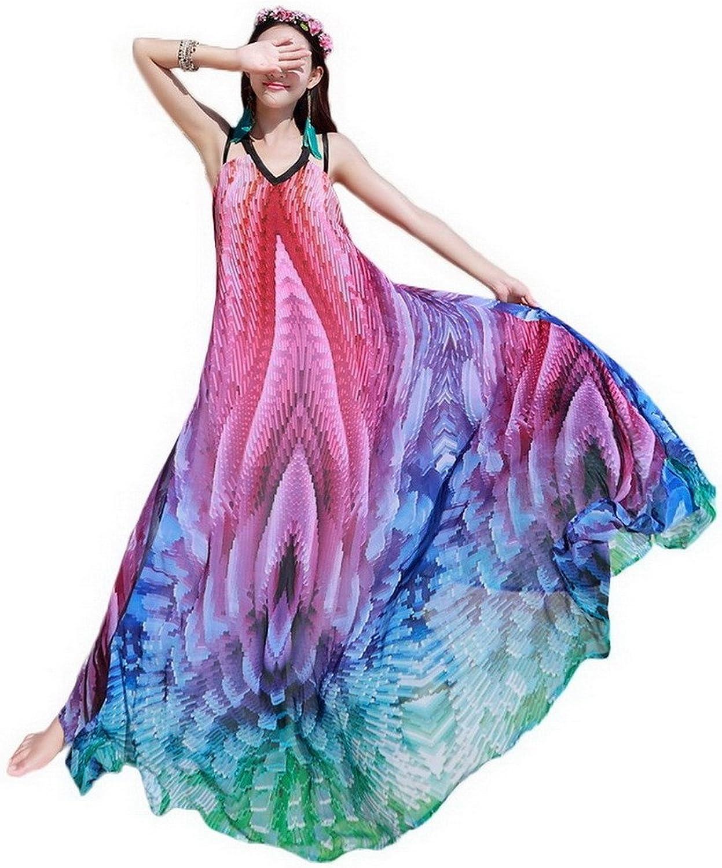 Xiang Ru Women's Summer Evening Party Beach Raindow Stripes Braces Maxi Dress
