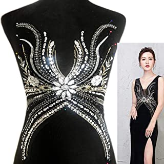 High-end 3D Black Silver Color Lace Applique, Rhinestones Beaded Patch, Sewing for Wedding Dress Women Evening Gowns V Neckline Decoration (Black Beaded Rhinestones)