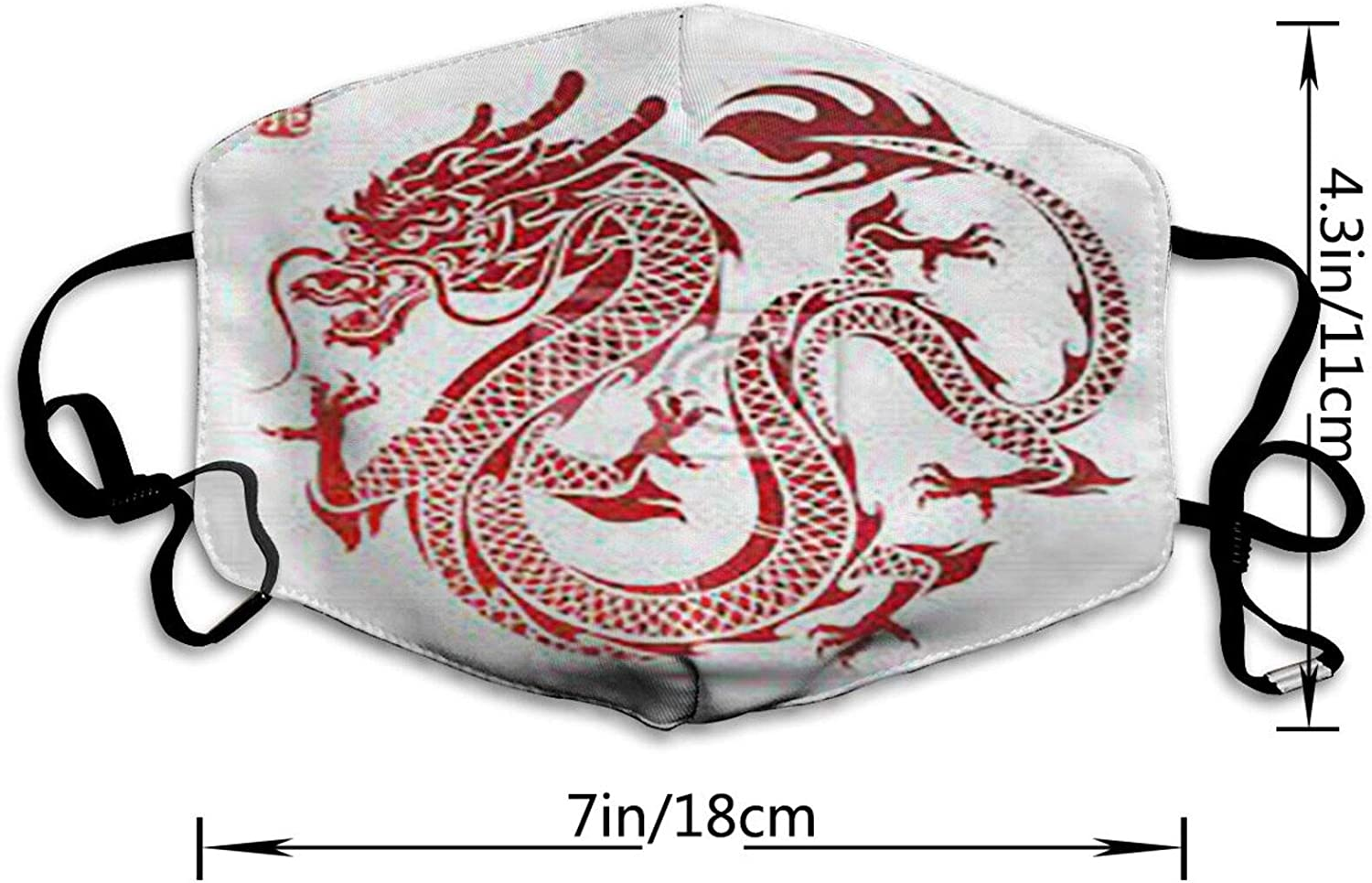 Dragon Reusable Windproof Face Mask Balaclava Face Covering for Adult Men Women Washable Outdoor White