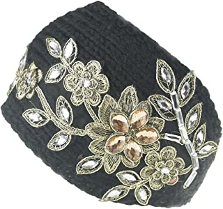 Urberry Women Knitted Headband Crystal Dotted
