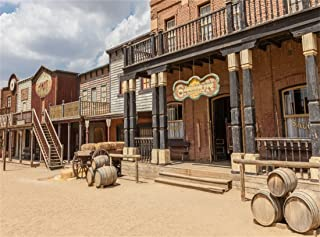 Leowefowa 9X6FT Wild Saloon Backdrop Ancient West Cowboy Backdrops for Photography Rural Countryside Wood House American Culture Photo Background Adults Party Studio Props