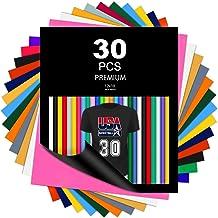 "WOLLGORD HTV Heat Transfer Vinyl Bundle, 30 Pack 12"" x 10"" PU Iron on Vinyl for T-Shirt & Cricut, 20 Assorted Colors HTV V..."