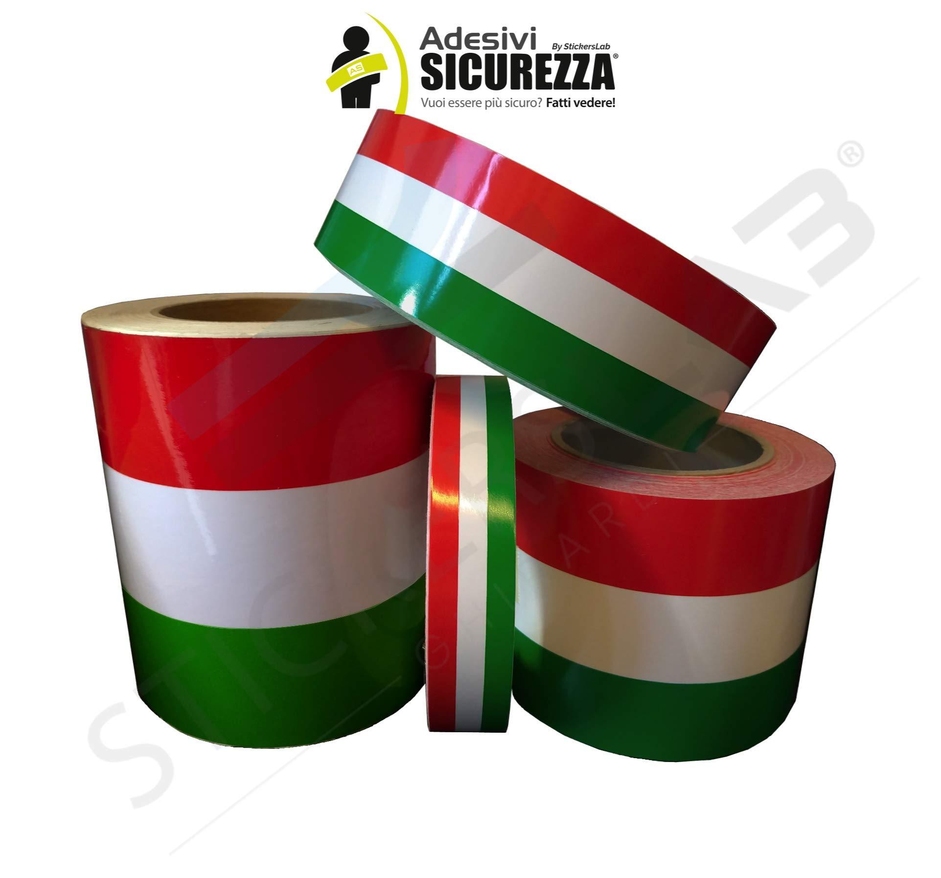 StickersLab Cinta adhesiva tricolor con la bandera de Italia, a rayas, en 4 medidas 10cm, Lunghezza - 1 metro: Amazon.es: Coche y moto