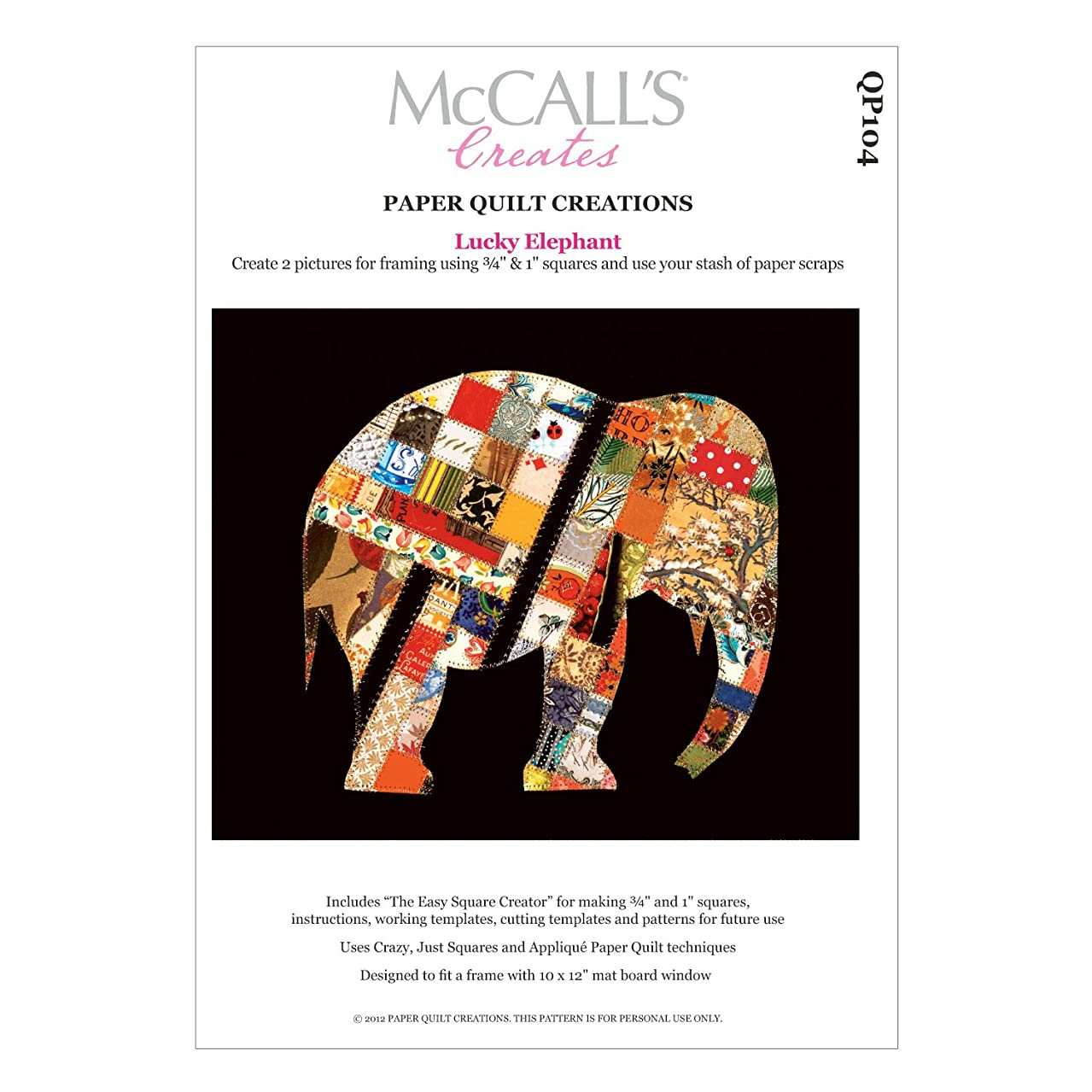 McCall's Creates W10623 Paper Quilt Creations Craft Pattern, Lucky Elephant Quilt Picture