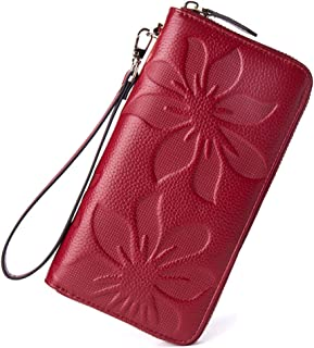 BOSTANTEN Women's RFID Blocking Leather Wallets Credit Card Cash Holder Clutch Wristlet Wine Red