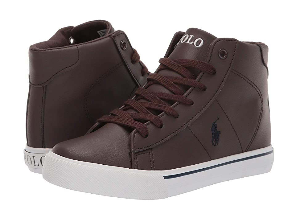 Polo Ralph Lauren Kids Easten Mid (Big Kid) (Chocolate Tumbled/Navy Pony) Boy