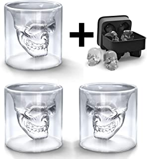 BeBr 3Pcs Crystal Skull Shot Glasses Double Wall Glass Cup with A 3D Skull Silicone Ice Cube Mold,Cool Wine Glasses Beer Mug for Wine Cocktail Vodka,Creative Home Halloween Party Bar Cup Gift(75ml)