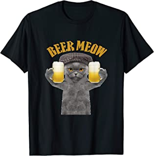 Beer Meow Cat Kitty Drinking or Serving Alcohol T-shirt