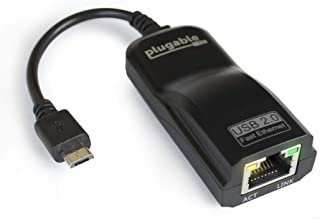 Plugable USB 2.0 OTG Micro-B to 100Mbps Fast Ethernet Adapter Compatible with Windows Tablets, Raspberry Pi Zero, and Some...