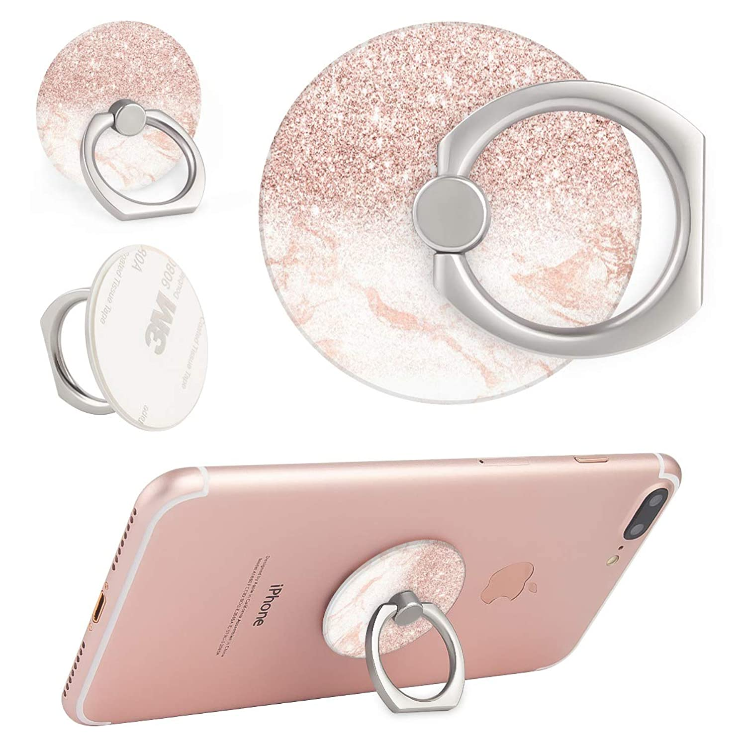 Phone Ring Stand Holder, Rose Gold Marble Blush Pink Faux Glitter Cell Phone Holder 360 Degree Rotation Finger Ring Stand Compatible with Smartphones and Tablets