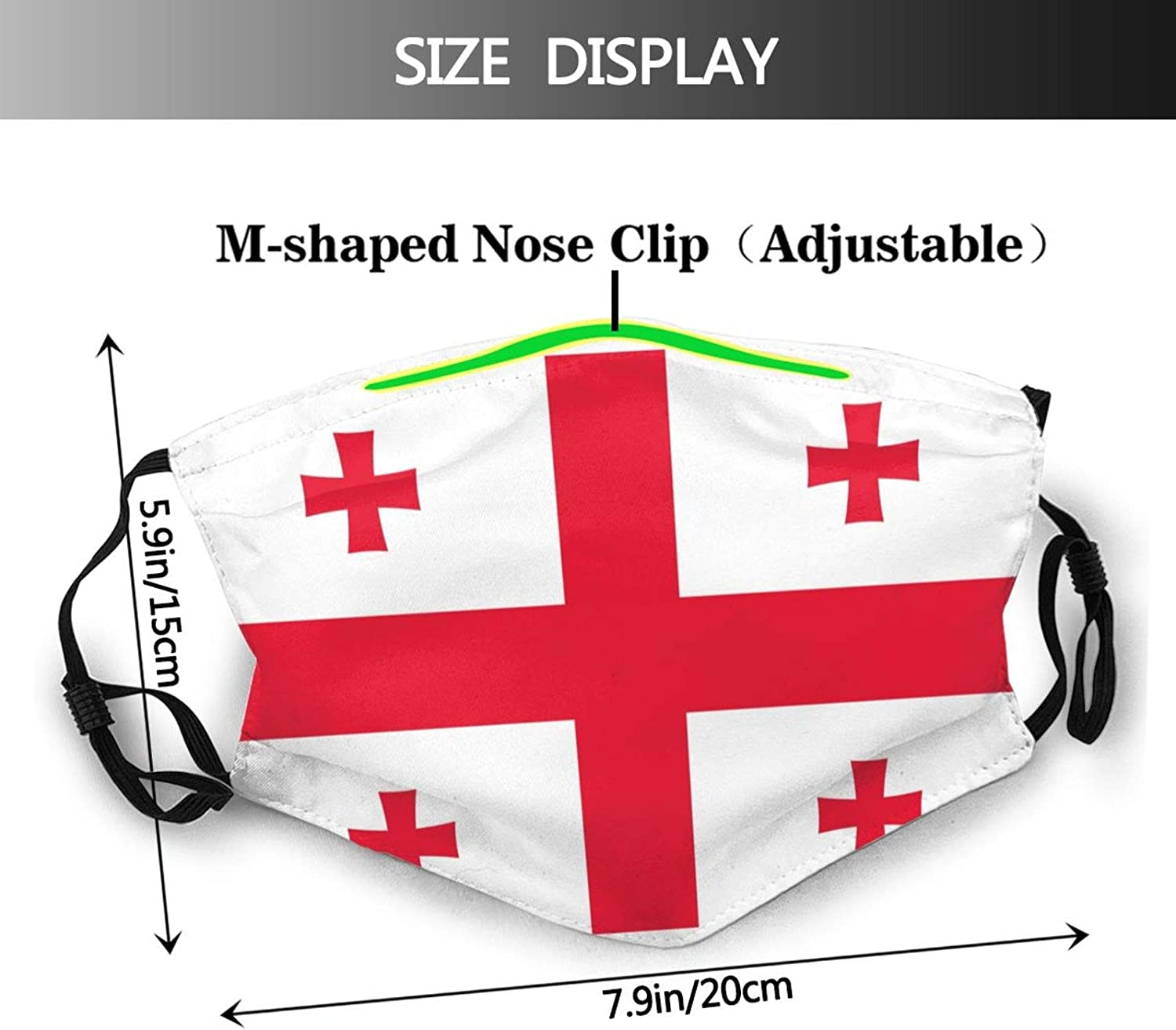 Georgian Flag Face Mask Reusable Washable, Adjustable Ear Ring, Balaclava Dustproof, Windproof Turban 1 Mask 2 Pieces of Pm2.5 Air Filter Chip. Black