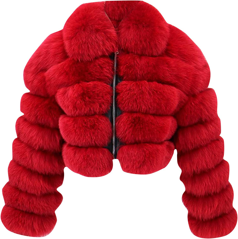 Neimen Faux Fur Coat for Women Short Hooded Warm Overcoat Furry Splicing Jacket Long Sleeve Outerwear