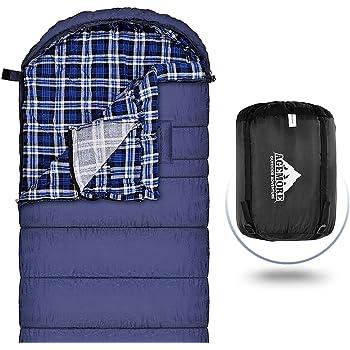 2 Personne Sac de Couchage Camping Pur Coton Portable Sac Compression Exterieur Respirant BLEU