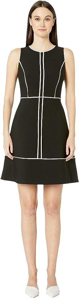 Paneled Crepe Dress