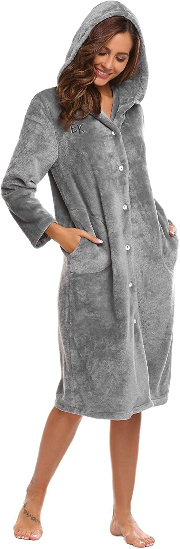 goldenfox Women Hooded Soft Plush Fleece Spa Bathrobe Long Sleep Robe SXXL